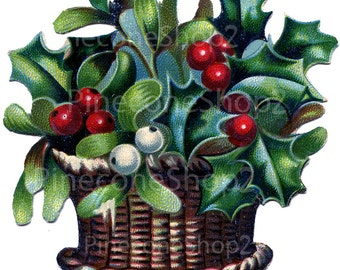 Christmas Holly about 4 x 4 inch PNG file 450 dpi INSTANT DOWNLOAD