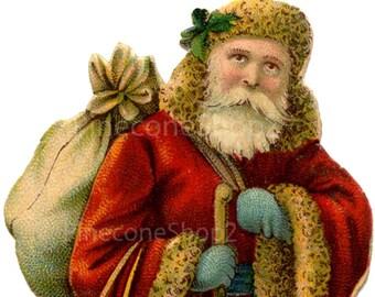 Vintage Santa INSTANT DOWNLOAD 4 x 8 inch png file