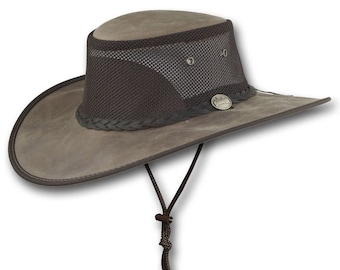 Barmah Hats Foldaway Bronco Cooler Leather Hat Item 1062