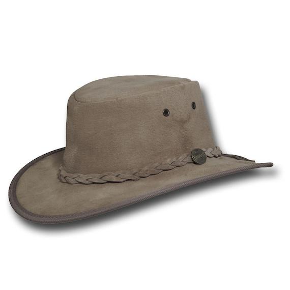 Sombrero de cuero de gamuza cerdo plegable 1066LM sombreros Barmah en arena e7dc9f14b0a
