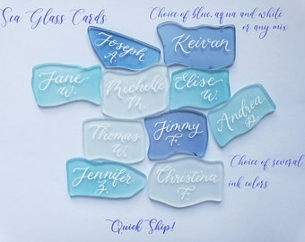 """Beach Sea Glass REAL INK REAL ,not paint Calligraphy Place cards seating - quick ship assorted 1.5""""~2.25"""" 3 color choices white or gold ink"""