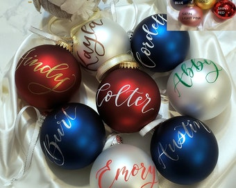 Personalized Calligraphy Ornament Handwritten-not vinyl stickers! custom any wording assorted colors available GLASS 2.6 inchChristmas ball