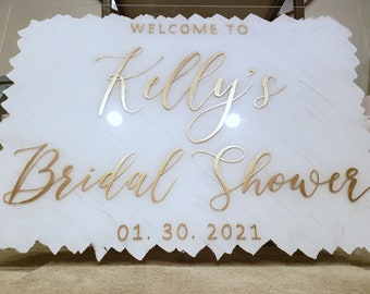 Bridal Shower wedding Welcome Sign Customized Hand Painted Clear Acrylic Plexiglass any wording any event baby shower, bat mitzvah, sweet16