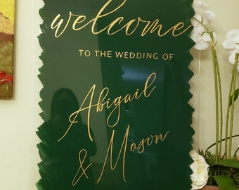 Wedding Welcome Sign VERTICAL ANY Color Handwritten painted calligraphy Acrylic 4 sizes 5 lettering colors Clear or painted backsplash