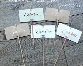 """Place Cards/ name tags on sticks handwritten calligraphy 1.75""""x3.5"""" cards/ tags on 6"""" sticks clay pot 4 colors, ONE name or word  quick ship"""