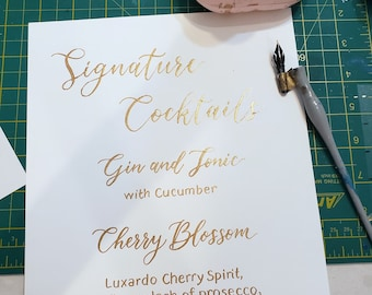 Signature cocktails sign- hand written calligraphy on premium cardstock choice of 8 card colors 7 lettering color choices 8x10 quick ship