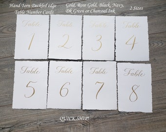 Deckled edge Table number cards in hand written calligraphy hand torn - 5 ink colors2 sizes quick ship dinner wedding, party, any event
