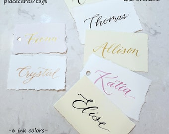 Deckled edge paper hand calligraphy Place cards name seating name tags hand torn 2 sizes quick ship- optional hole 6 ink colors