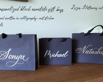 Personalized Gift Bags in Hand written calligraphy two sizes premium eurotote style 3 lettering colors fabric handles large luxury