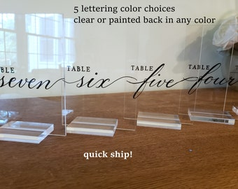 Acrylic table numbers card sign Handwritten & clear or Painted backsplash in any color 5 lettering color choices w/without stand-quick ship!