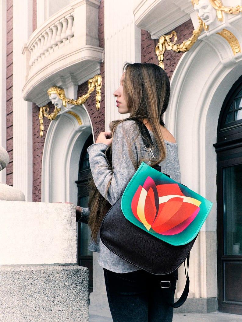 Summer sale Vegan Leather Bag Women Flower Backpack Tablet image 0