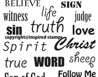 Inspired Stamps... 4x6, 100% photopolymer stampset...Bible art journaling: word mix 3 (JOHN)...NEW