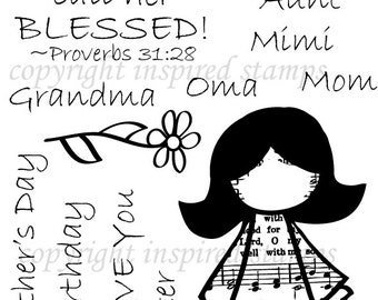 """Inspired Stamps  4x6"""" HYMN GIRLS:Mother's Day... brand new photopolymer clear stamp!"""
