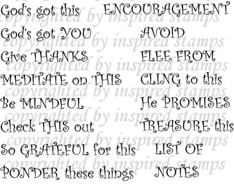 Inspired Stamps... 4x6, 100% photopolymer stampset..Bible Art Journaling: PHRASES...new