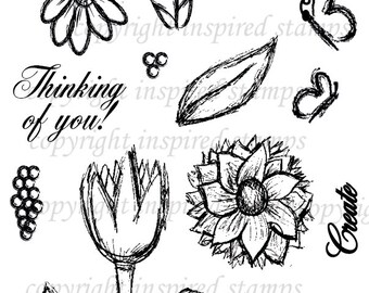 Inspired Stamps... 4x6, 100% photopolymer stampset..Spring Sketches ...NEW