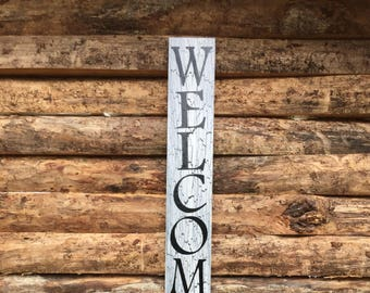 vertical welcome sign -  - welcome sign - porch sign - entry wall sign - customized signs