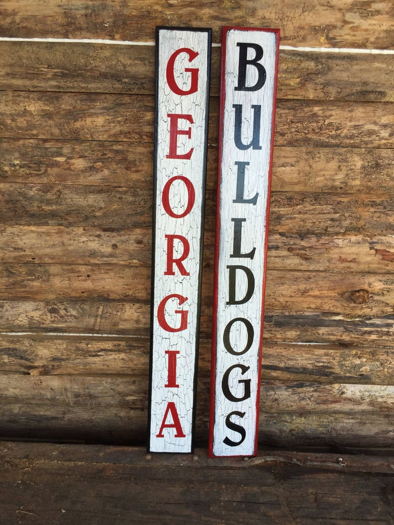 Georgia Bulldogs Wooden Signs Crackled Painted Signs Hand Painted Signs