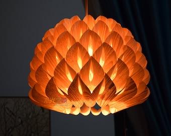 Ceiling Light-Chandelier Lighting-Hanging Lamp-Pendant Light-Lighting-Wood Pendant Light-Rustic Lighting-Dahlia Pendant Lamp-Chinese Ash