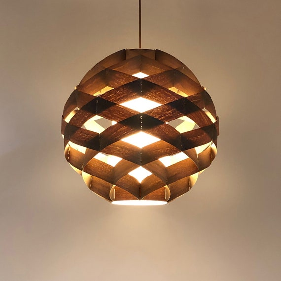 New Pendant Light Chandelier Lighting Hanging Lamp Wood Pendant Light Wood Veneer Lamp Ceiling Light Woven Ball 1 Light Pendant Lamp Walnut