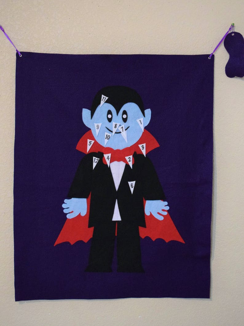 Halloween Game Large Reusable Felt Pin the Fang on the Vampire