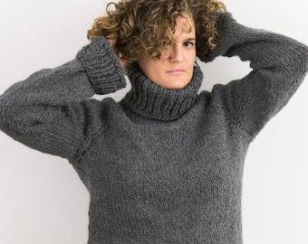 572bfcd071a9ac Maglione ai ferri in lana e alpaca | Maglia invernale calda e avvolgente  con collo alto | mod. ABETE