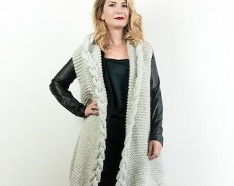 Maxi knitted vest, oversized and  hooded sleeveless coat in alpaca, minimal chunky sweater mod. MARSIGLIA