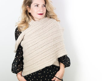Maxi cape and scarf crocheted in wool and alpaca: warm and cozy stole, comfy and elegant, mod. LIONE