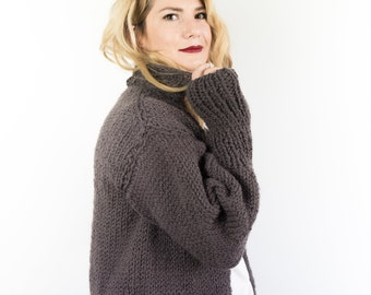 Cardigan women wool with collar, knit open front cardigan and slouchy sweater