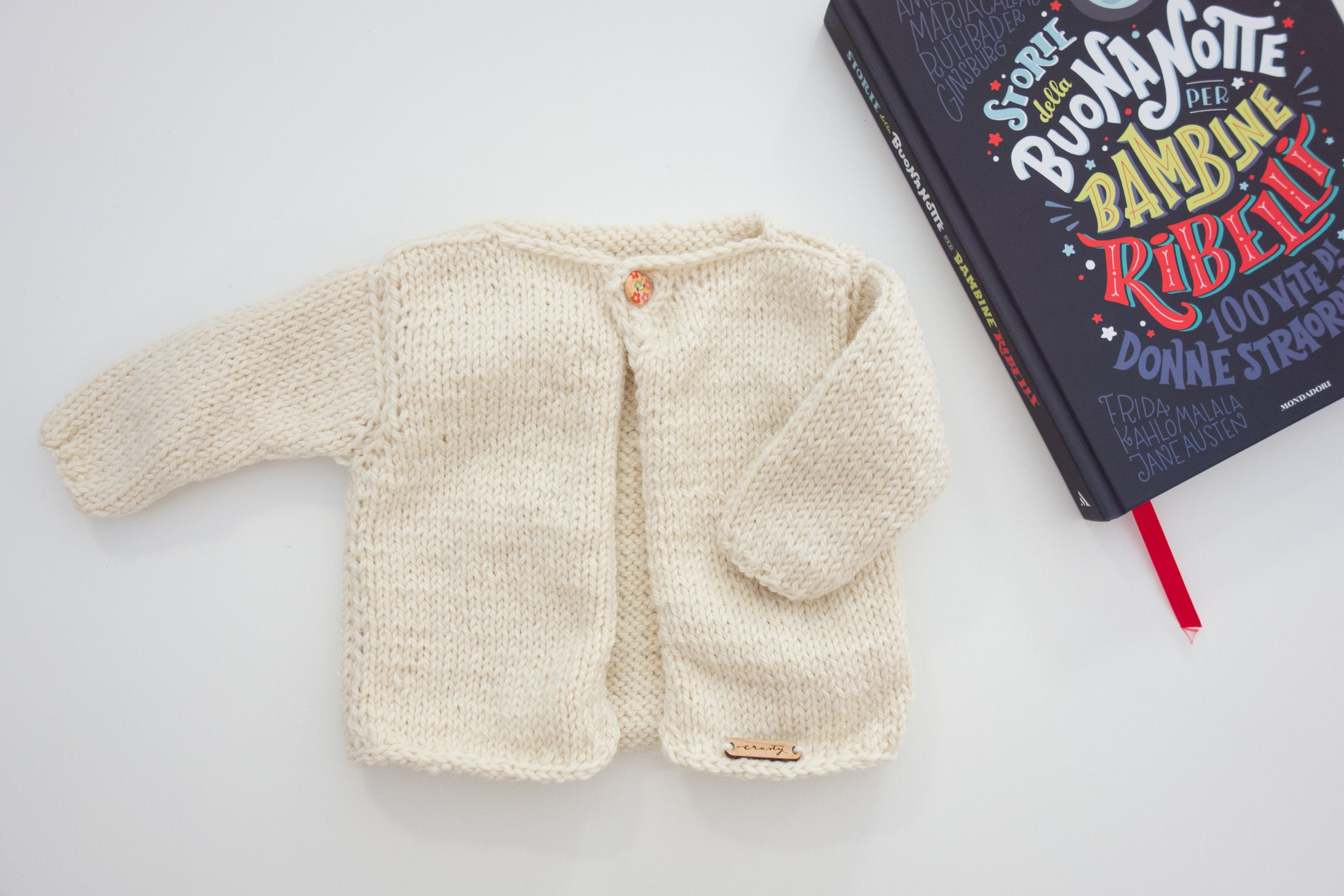 173139036 Knitted baby cardigan for newborn in wool and alpaca for baby