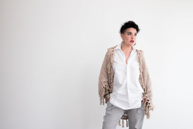 fc6b5855584a Maxi cardigan in cotone da donna fatto all uncinetto con
