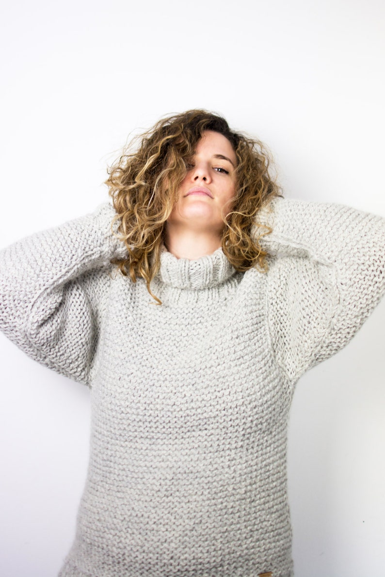 Chunky hand knitted sweater in wool and alpaca  cozy and warm image 0