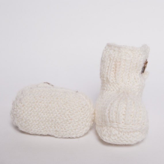 aa39926811d2 Hand Knit Baby Booties in wool and alpaca knitted winter