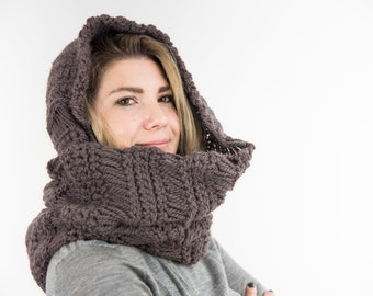 Hooded scarf, a cowl scarf crocheted in wool and alpaca, mod. CALAIS