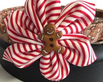 Dog collar, gingerbread man collar, candy cane collar, Christmas collar, holiday collar, puppy collar, handmade collar, flower collar