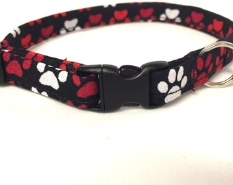 Cat collar, black cat collar, red cat collar, paw cat collar, adjustable cat collar, break away collar, cat gift, Christmas gift