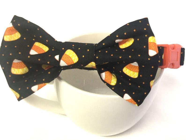 Dog collar black dog collar candy corn dog collar bow tie image 0