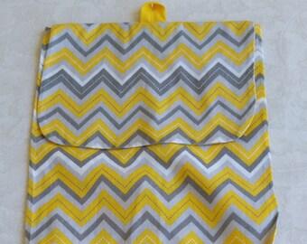 Yellow White and Gray Chevron Plastic Grocery Bag Holder