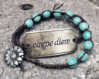 Handmade Macrame Bracelet Set With Metal Carpe Deim Cuff and Turquoise Beads with Sunflower Closure