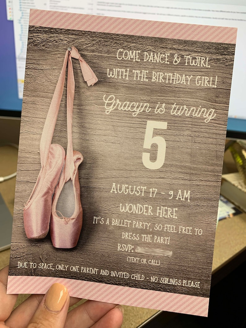5x7 Ballet Slippers Birthday Party Invitations Includes Envelopes Printed or Digital Custom Design