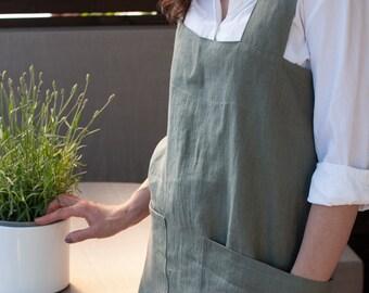 Linen Pinafore Apron - Stonewashed Soft Linen - Various colours - Handmade - Eco-friendly