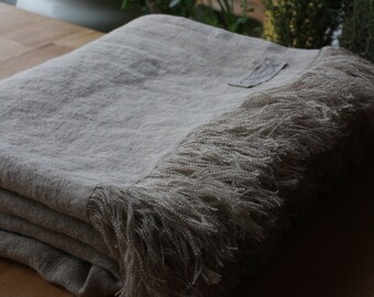 Stonewashed Linen Throw with fringes - Natural Summer Blanket - Lithuanian flax - Handmade - Eco-friendly - Natural product