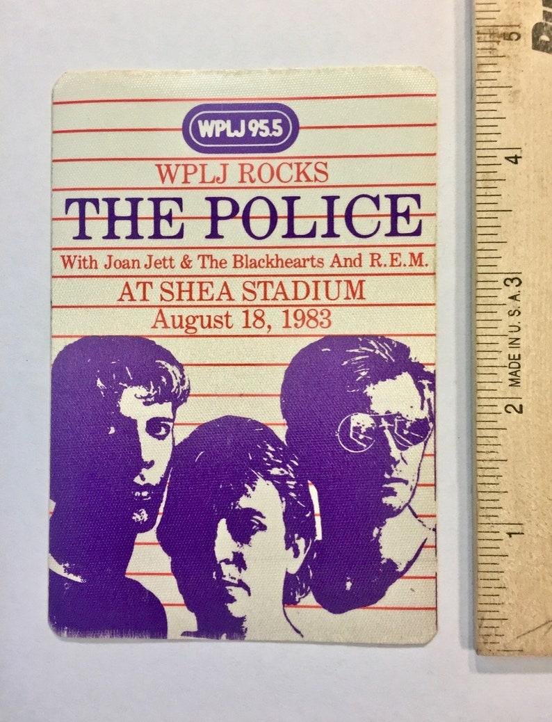 Satin Stick-On The POLICE Collectible Joan Jett /& Blackhearts REM Shea Stadium 3-14 x 4-34 Backstage Pass 1983 Vintage