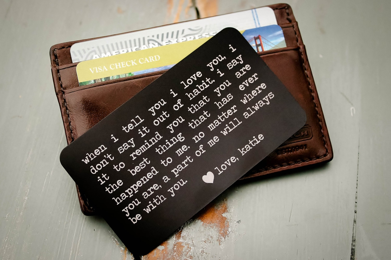 Personalized Wallet Insert Engraved Wallet Card Father Of Etsy