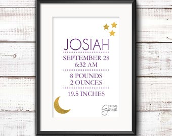 Moon And Stars Birth Announcement