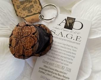 Simplistic Vegan Plumeria Flower Coconut Shell Wooden Keychain & Tiny Purse - All Handmade.