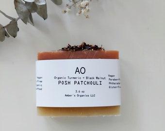 Organic Posh Patchouli + Turmeric + Black Walnut Brighten, Tone, Soap Bar. Improved - Vegan - Soft Hair + Smooth Skin Body Wash