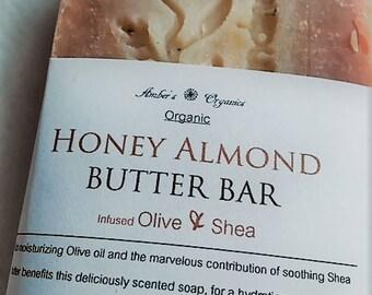 Organic Real Honey and Almond Butter Bar - Olive & Shea Honey Skin Healing.