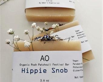 Organic Hippy Snob Posh Patchouli Festival Handcreated Soap Bar - Hemp + Olive + EO Oils Soothing Infusion