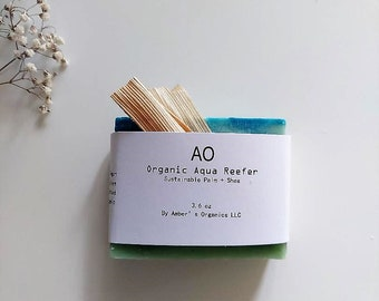 Organic Aqua Reefer Fresh Vegan Bar Soap + Virgin Olive + Shea - Shaving/Bumpy skin|Irritated|Perspiration