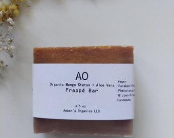 Organic Mango Status + Aloe Vera Frappe Bar + Soothing Shea Anti-Aging Lather Soap Bar - Soft + Scented